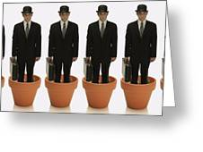 Clones Of Man In Business Suit Standing Greeting Card by Darren Greenwood