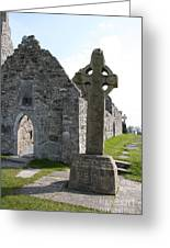 Clonmacnoise Cathedral  And High Cross Ireland Greeting Card