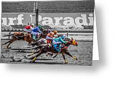 Close Finish At Turf Paradise Greeting Card