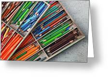 Close-up Of Color Pencils, Ishoj Greeting Card
