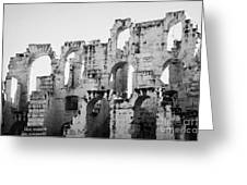 Close Up Of Remains Of Upper Deck In The Old Roman Collosseum At El Jem Tunisia Greeting Card