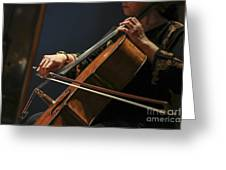 Close Up Of The Cellist's Hands Greeting Card