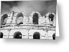 Close Up Of The Top Of The Old Roman Colloseum Against Blue Cloudy Sky El Jem Tunisia Greeting Card