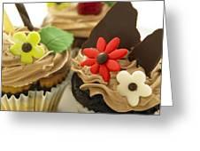 Close-up Of Three Chocolate Cupcakes Greeting Card