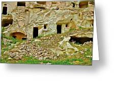 Close-up Of Tufa-carved Homes In Cappadocia-turkey Greeting Card