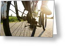 Close Up Of Wheel Of Bicycle On Road Greeting Card