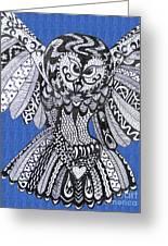 Close Up Owl Blue Greeting Card
