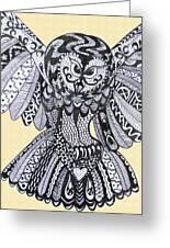 Close Up Owl Cream Greeting Card