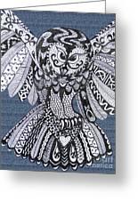 Close Up Owl Denim Greeting Card