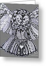 Close Up Owl Grey Greeting Card