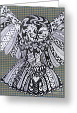 Close Up Owl Tartan Greeting Card
