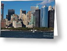 Close View Of Downtown Manhattan Eastern Skyline Greeting Card