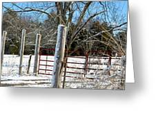 Closed Gate In Winter  Greeting Card