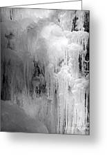 Closeup Of Icy Waterfall - Black And White Greeting Card