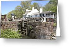 Closing A Lock On The C And O Canal At Great Falls Tavern Greeting Card