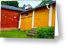 Clothesline In Porvoo In Finland Greeting Card