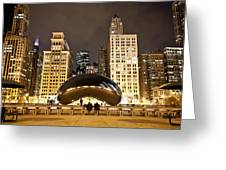 Cloud Gate And Skyscrapers Greeting Card
