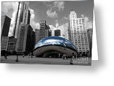 Cloud Gate B-w Chicago Greeting Card by David Bearden