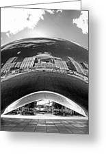Cloud Gate Under The Bean Black And White Greeting Card