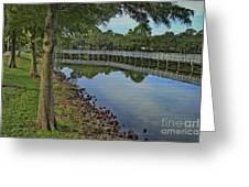 Cloud Reflection At The Pond Greeting Card