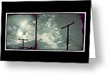 Clouds And Power Lines Greeting Card
