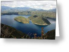 Clouds And Shadows On Lake Cuicocha Greeting Card