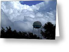 Clouds Around The Water Tower Greeting Card