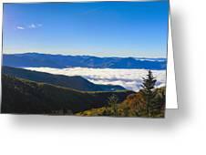 Clouds Below Watterock Knob At Sunrise Greeting Card