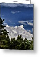Clouds Like Mountains Behind The Pines Greeting Card
