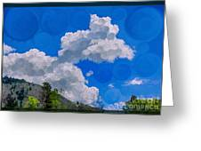Clouds Loving A Friendly Mountain Landscape Painting Greeting Card