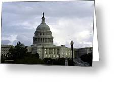Clouds Of Political Uncertainty Over Capitol Hill Greeting Card