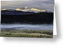 Clouds Over Longs Peak Greeting Card by Tom Wilbert