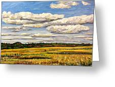 Clouds Over Marsh In Wells Maine Greeting Card