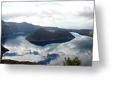 Clouds Reflected In Lake Cuicocha Greeting Card