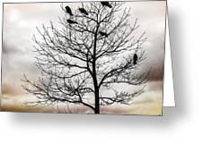 Cloudy Day Blackbirds Greeting Card