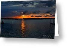 Cloudy Harbor Sunset  Greeting Card