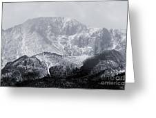 Cloudy Misty Pikes Peak Greeting Card