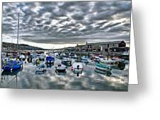 Cloudy Morning - Lyme Regis Harbour Greeting Card