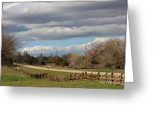 Cloudy Sky With A Log Fence Greeting Card