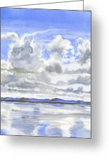 Cloudy Sky With Reflections Greeting Card