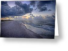 Cloudy Sunrise Over Orange Beach Greeting Card