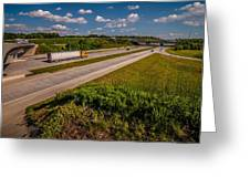 Clover Leaf Exit Ramps On Highway Near City Greeting Card