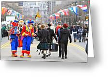 Clowns And Tartans Greeting Card