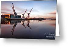 Clydeside Cranes Long Exposure Greeting Card