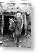 Coal Miner & Mule 1940 Greeting Card