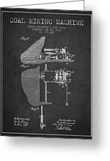 Coal Mining Machine Patent From 1903- Charcoal Greeting Card