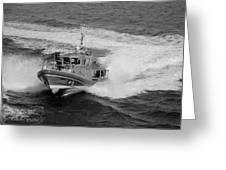 Coast Gaurd In Action In Black And White Greeting Card