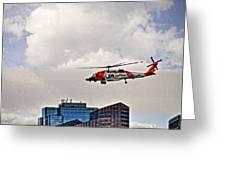 Coast Guard Chopper Over Boston Greeting Card