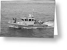 Coast Guard On Patrol In Black And White Greeting Card