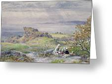 Coast Scene With Children In The Foreground, 19th Century Greeting Card